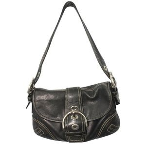 Coach Leather Trim Monogram Black Shoulder Bag